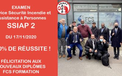 Examen SSIAP 2 – Service de sécurité incendie Assistance à personnes du 17/11/2020
