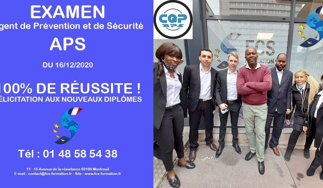 EXAMEN APS – Agent de Prévention et de Sécurité du 16-12-2020